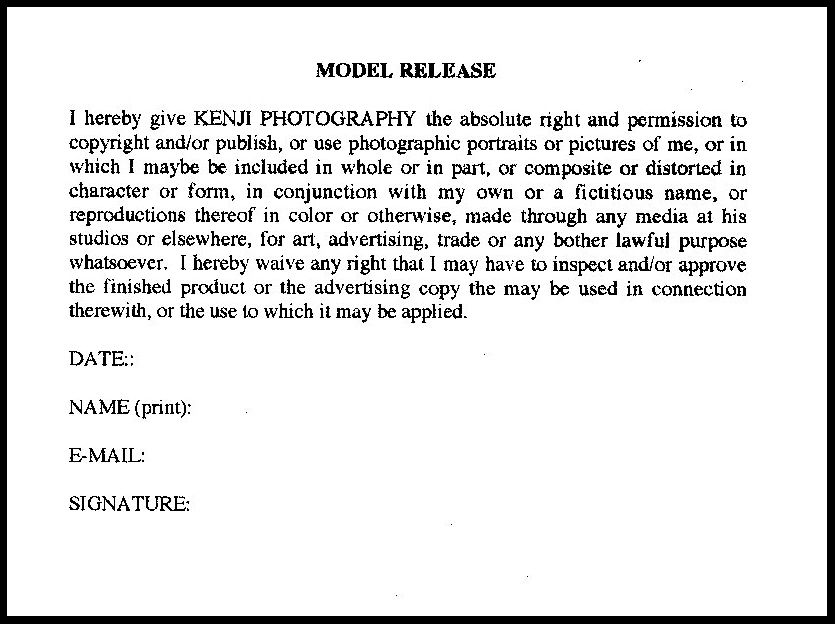 Dissolve Stock Footage, Model Release Form